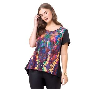 City Chic Abstract Butterfly Front Hi Lo Top